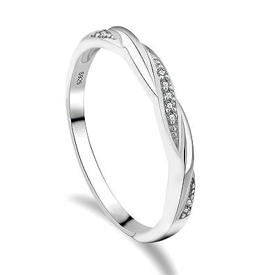 Gulicx Hochzeitsringe 925 Sterling Silber Rund Weiss Kristall