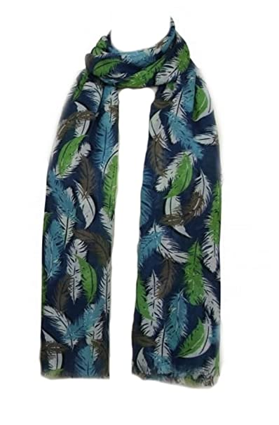 e2aead195 PEONY Scarves Feather Print Scarf Feathers design in Navy Blue or Purple  (Navy Blue): Amazon.co.uk: Clothing