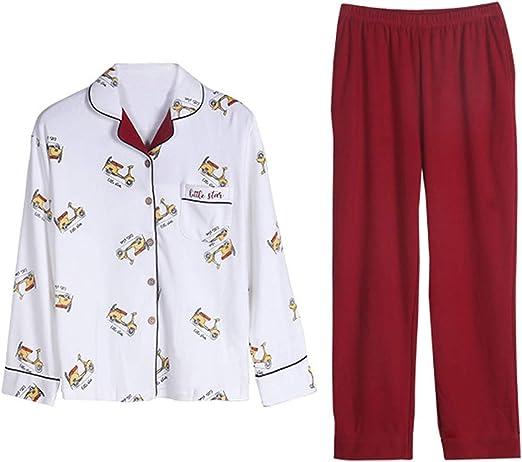 AIBAB Otoño Pijama Mujer Algodón Chaqueta De Solapa Pantalon Manga ...