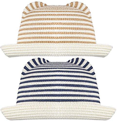 [WDSKY Boys Beach Hats Straw Fedora Navy Stripes and Khaki Stripes 2pcs] (Straw Farmer Hats)