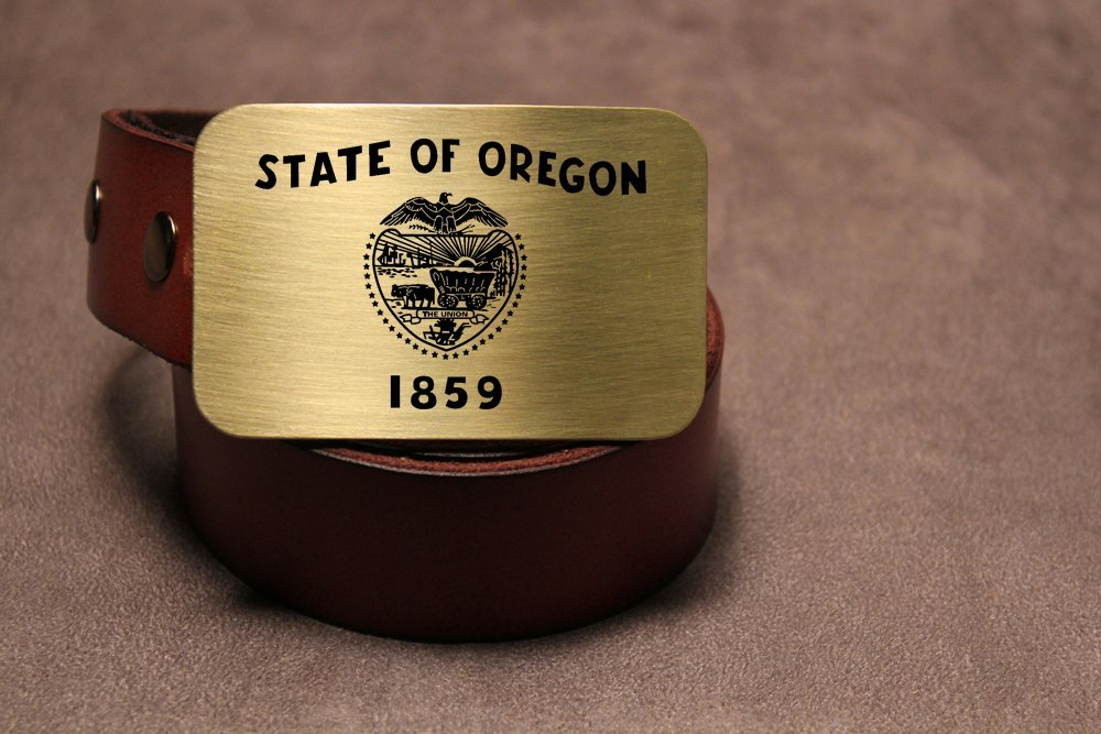 Oregon State Flag PORTLAND PDX Etched Metal Belt Buckle