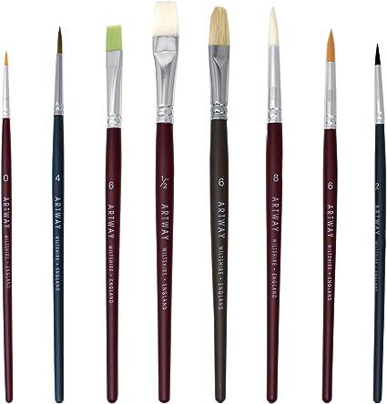 Artway - Set de 8 Pinceles para Pintar - Redondos, Planos y de Lengua de Gato - Pelo de cerda, de Nailon, de Marta cibelina y Natural: Amazon.es: Oficina y papelería
