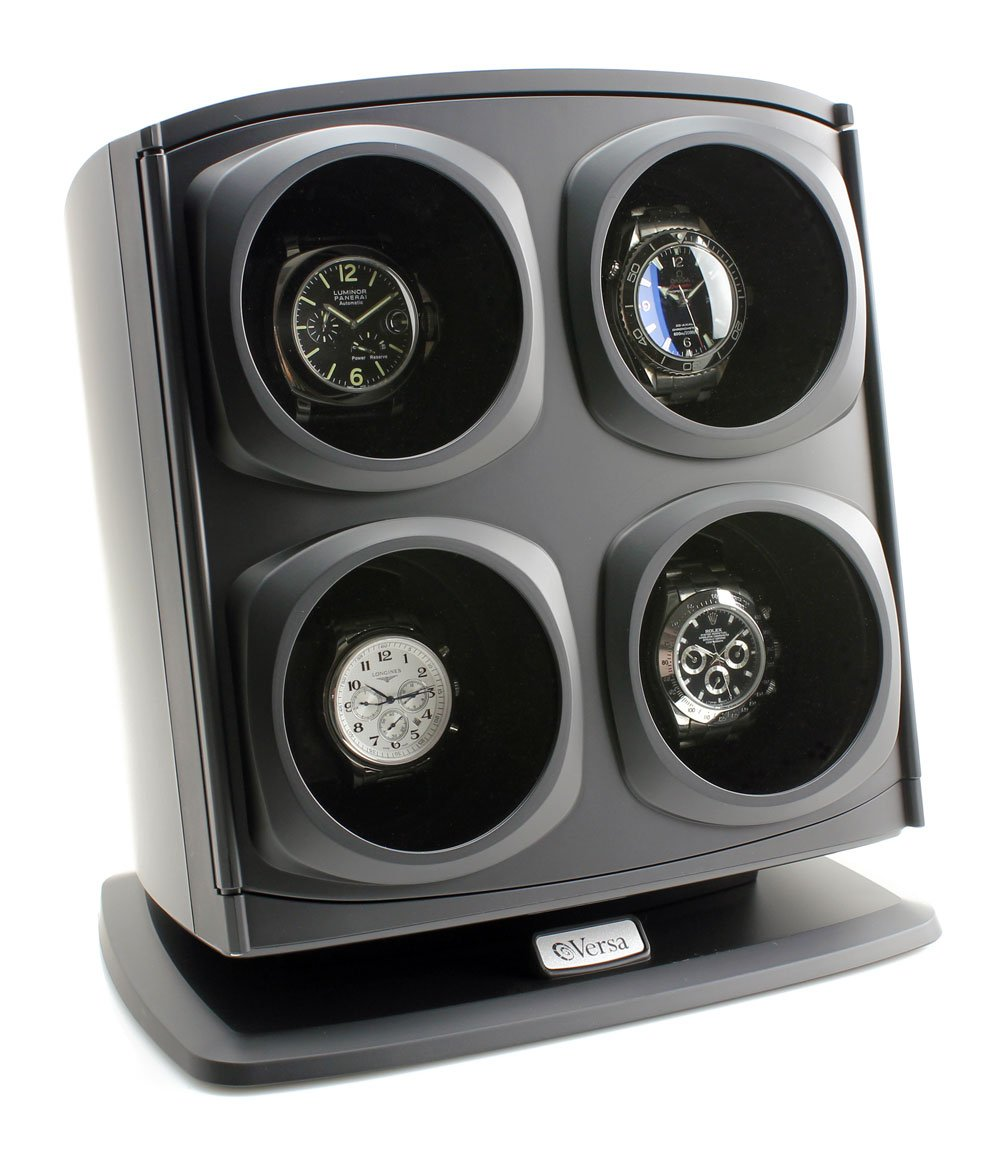 [ON Sale] Versa Quad Watch Winder in Black - Independently Controlled Settings - Multiple Direction and Timer Settings - Adjustable Watch Pillow - Plenty of Space for Large Watches by Versa