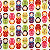 Robert Kaufman Little Kukla Russian Matryoshka Nesting Dolls Bright, 44-inch (112cm) Wide Cotton Fabric Yardage