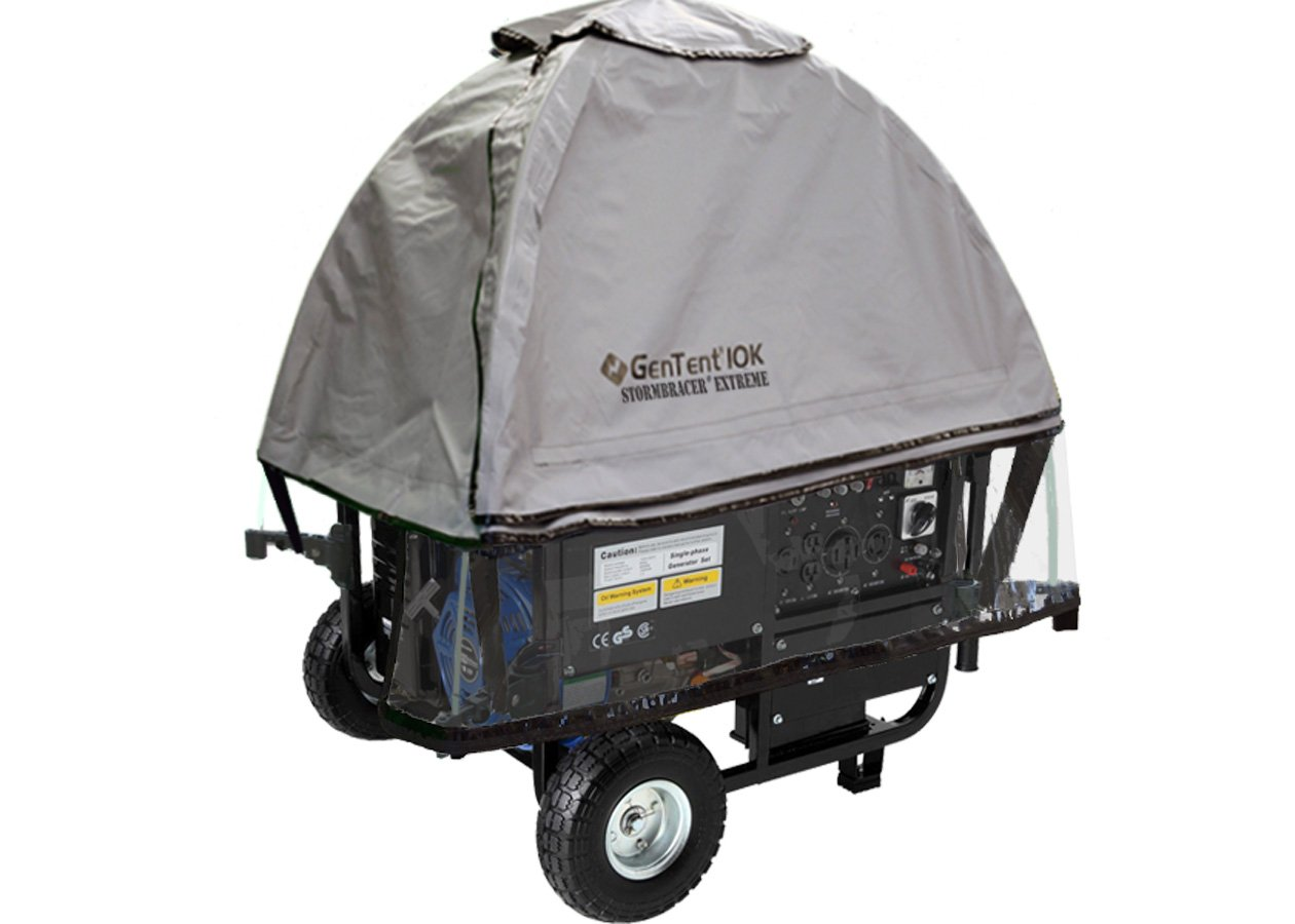 GenTent 10k Generator Tent Running Cover with Clear Vinyl Apron - Universal Kit Bundle (Extreme, GreySkies) - Compatible with 3000w-10000w Portable Generators