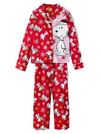peanuts girls pink red flannel sleepwear set snoopy christmas pajamas
