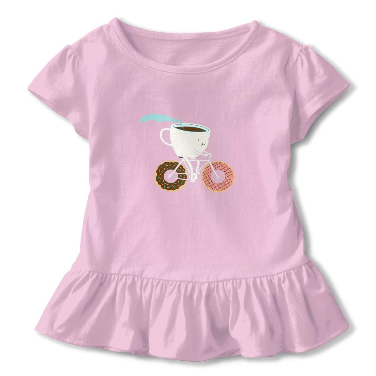 Coffee Riding Donuts Breathable Sweat-Absorbing Cotton Tee T-Shirts Shirts with Round Neck and Ruffles Casual Top for Toddlers Baby Girls Children