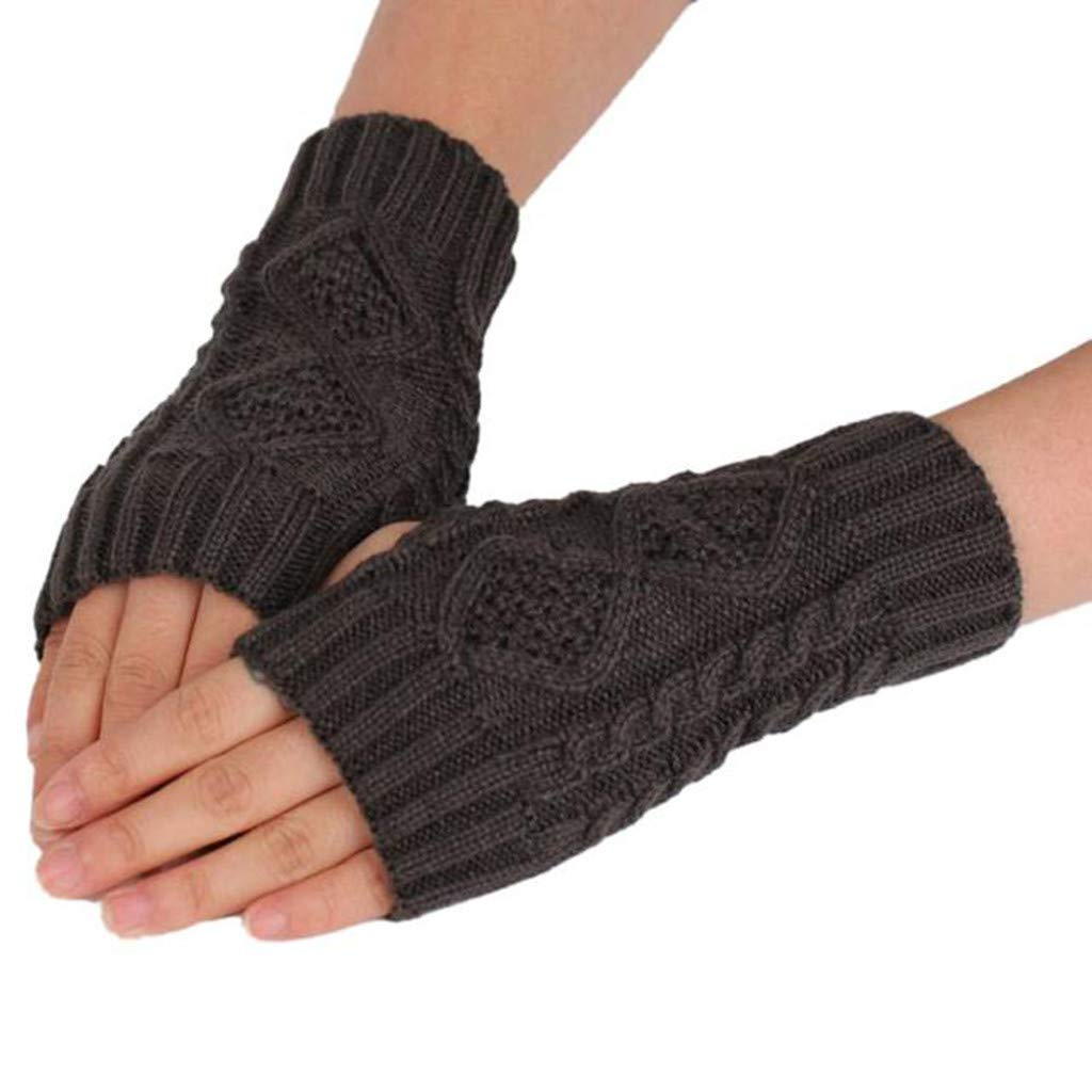 Tuu 1Pair Women Winter Warm Long Fingerless Gloves Crochet Knitted Wrist Wrist Warmers (Dark Gray)