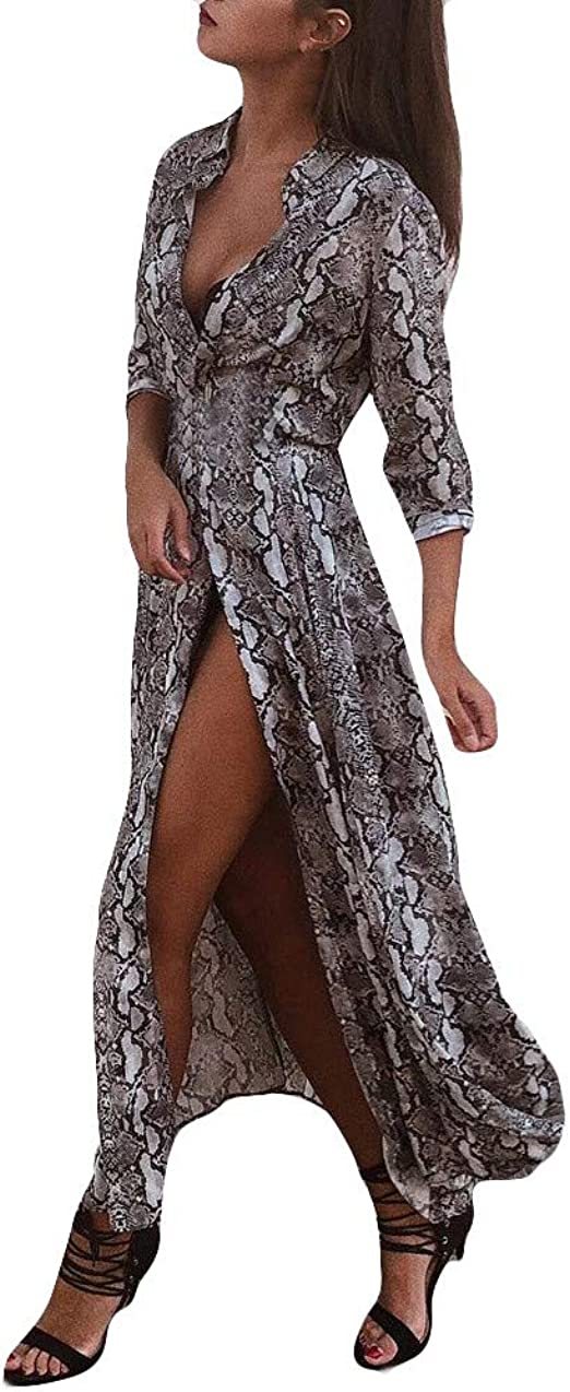 Usstore  Womens Snake Print Shirt Dress Casual Fashion Lapel Button Bifurcation Pockets Party Mini Dresses