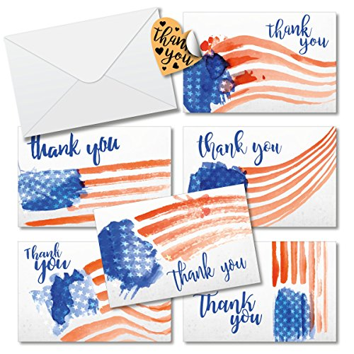Thank You Cards Box Set Assortment 6 Unique Stars and Stripes Designs - 36 Pack of Cards 4 x 6 inches Blank inside with Envelopes Free Stickers