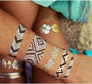 Tatuajes temporales dorados para hombre y mujer, tatuaje temporal ...