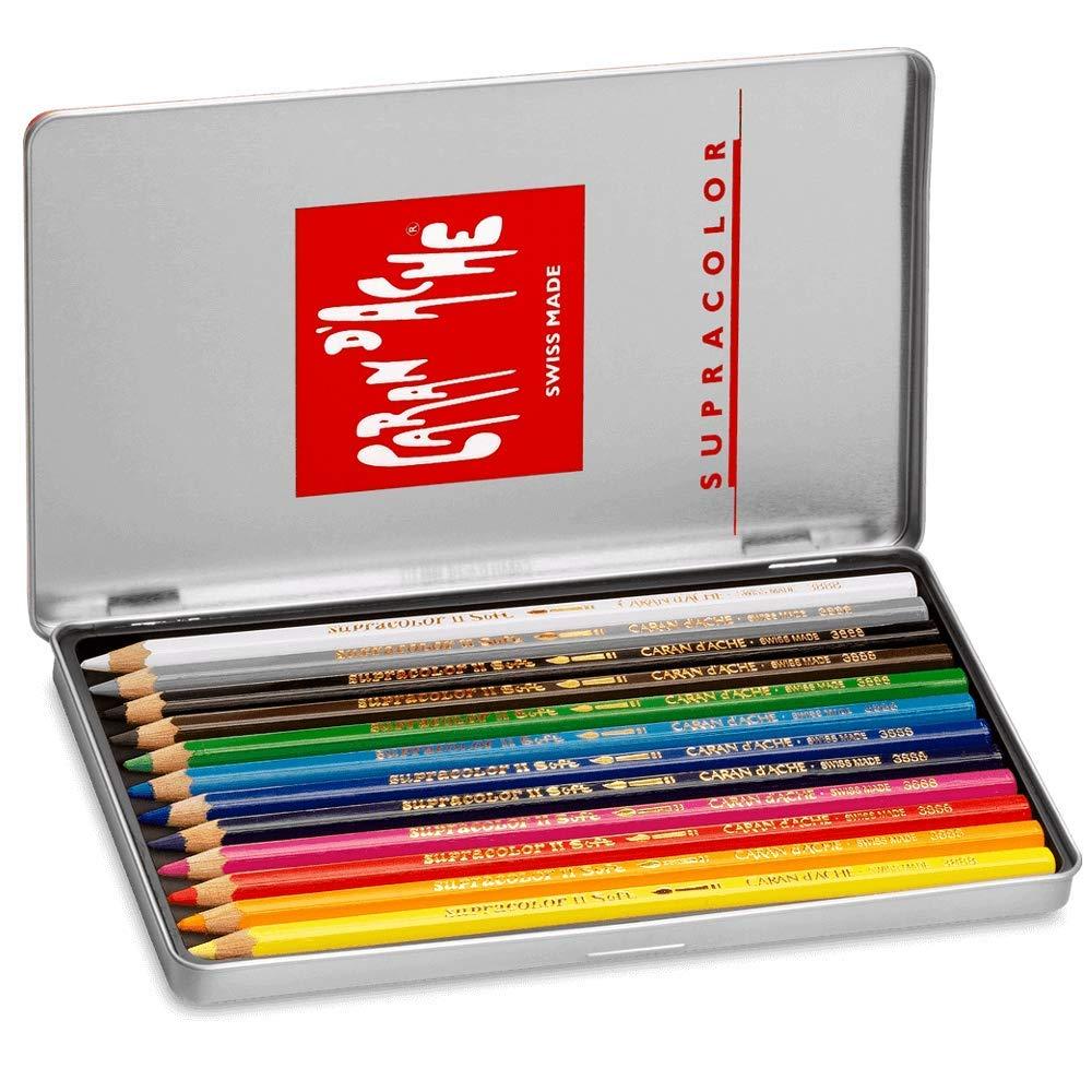 CARAN d/'ACHE/® Scatola in legno 160 colori 80 pablo//80 supracolor