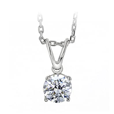 acb1db05b967b3 Baron Jewelry Classic Chic Elegance 1 cttw 6.5mm Pure Brilliance Cut Clear  Solitaire Necklace Made