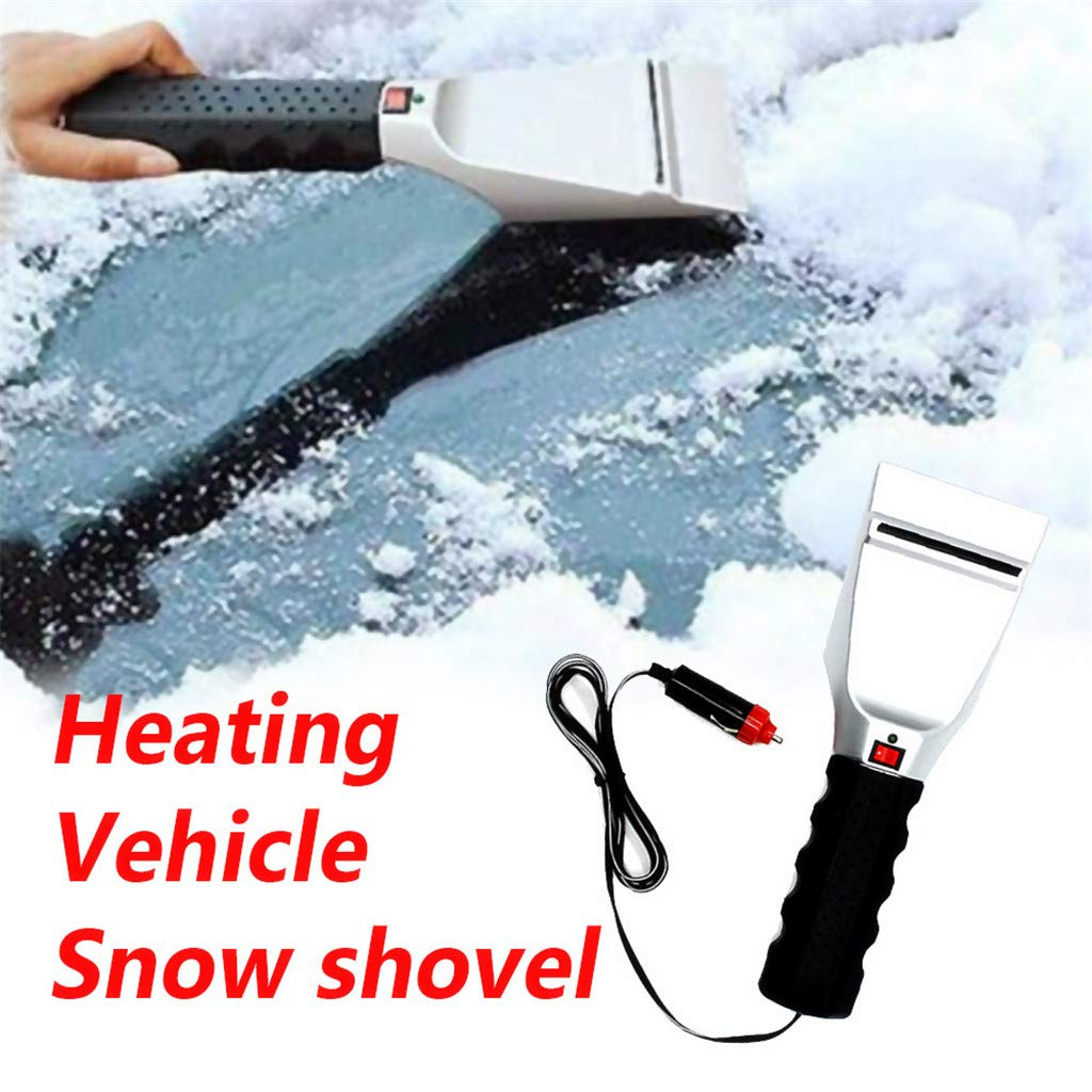 HeziCat Heated Snow Ice Scraper for Car - Electric Heated Auto Windshield Window Ice Scrapers with Squeegee for Cars
