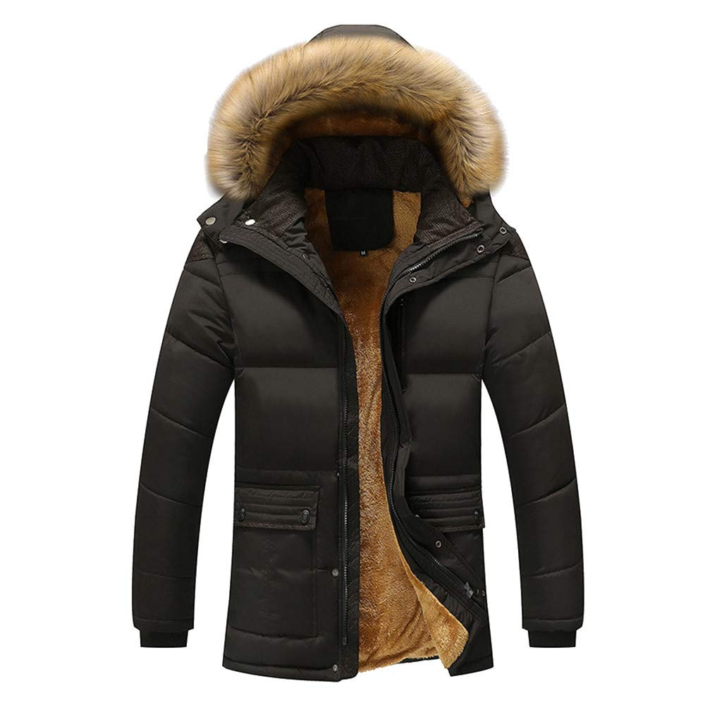Doublelift Mens Winter Hooded Jacket Faux Fur Outwear Puffer Coats with Removable Hood