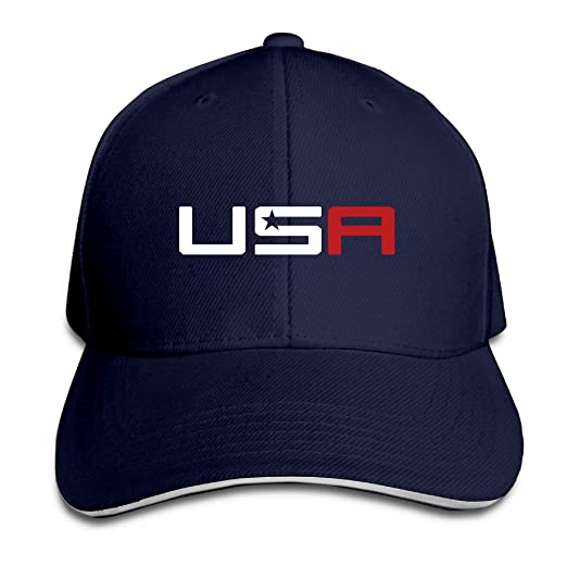 Amazon.com  Man 2016 USA Ryder Cup Golf Logo Sandwich Baseball Hats ... 5cbb9f5505d