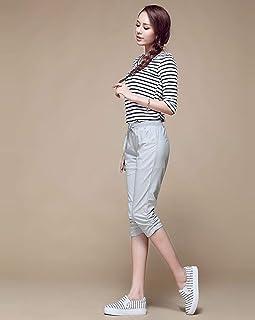 AKDYH Pantaloni da Donna Pantaloni di Lino Estate Donna Pantaloni AVita Bassa PantaloniHarem Pantaloni inVita Elastica Pantaloni Capris Plus