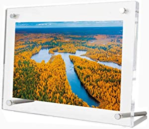 Missartist Frameless Tabletop Floating Photo Frames Clear Acrylic Picture Frame Desktop Free Standing (8x10)
