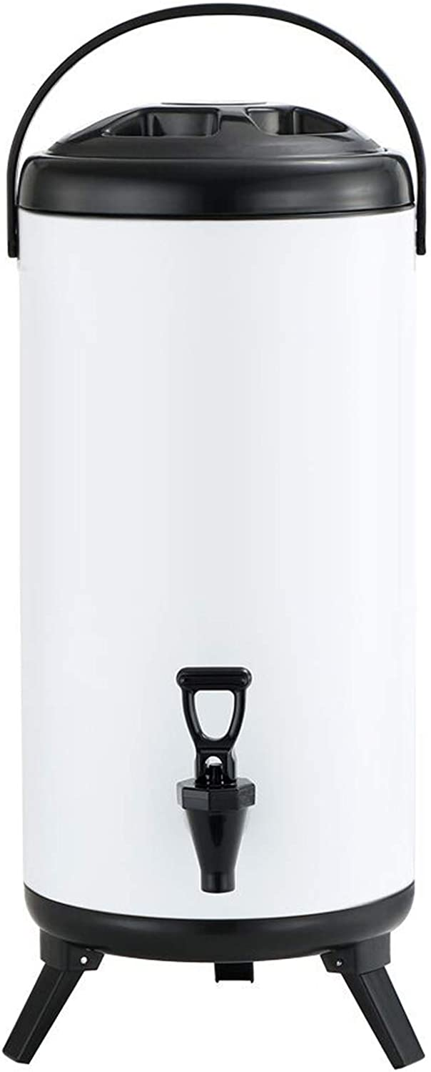 Stainless Steel Insulated Baverage Dispenser, Insulated Thermal Hot and Cold Drink Dispenser with Spigot for Hot Tea & Coffee, Milk, Juice, Outdoor Parties and Daily Use White 8.2 Liter/2.1 Gallon