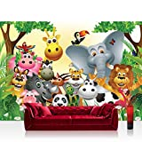 Non-woven Photographic Wallpaper 300x210cm Premium Plus Wall Mural Photo Wallpaper–Jungle Animals Party Nursery Children Jungle Zoo Animals Giraffe Lion Monkey–No. 013
