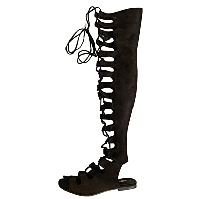 3ee413edf28a CAPE ROBBIN Womens Open Toe Lace Up Gladiator Over The Knee Thigh High  Caged Flat Sandal