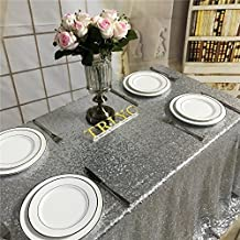 "TRLYC 50""*50"" Silver Sequin Tablecloth for Wedding/ Party/ Banquet"