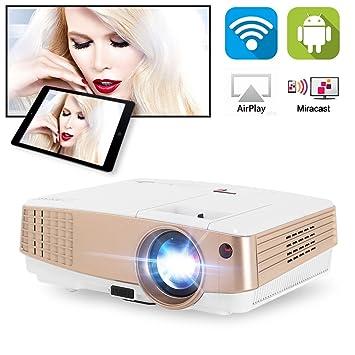 Mini proyector de video WiFi portátil Proyectores de películas de cine en casa compatibles Full HD 1080P, Proyector inalámbrico multimedia con Android ...