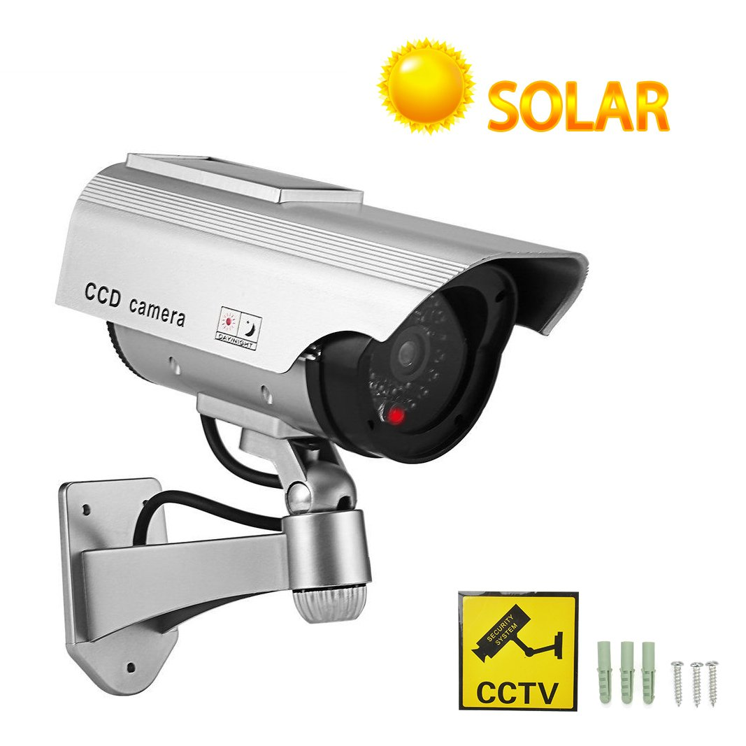 YSUCAU Solar Powered Bullet Dummy Fake Surveillance Security CCTV Dome Camera With Realistic Simulated LEDs Warning Security Alert Sticker Decals Outdoor/Indoor Use for Homes & Business