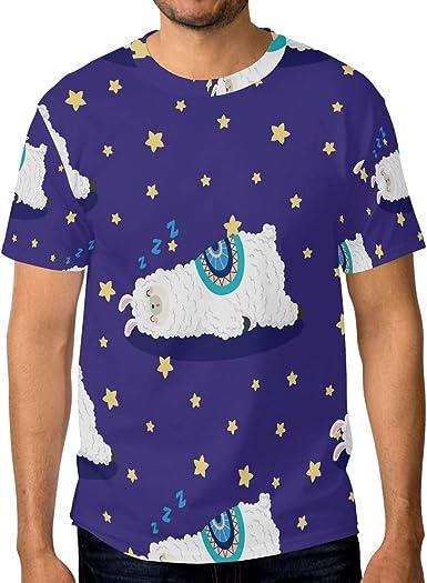 Camisetas para hombre de dibujos animados lindo Llamas Doodle Estrellas Personalizadas Verano Casual Camisetas: Amazon.es: Ropa y accesorios