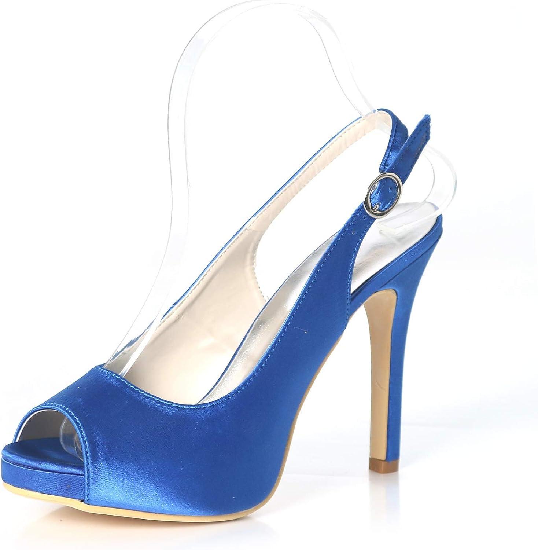 Elobaby Chaussures de Mariage pour Femmes Pompes Satin