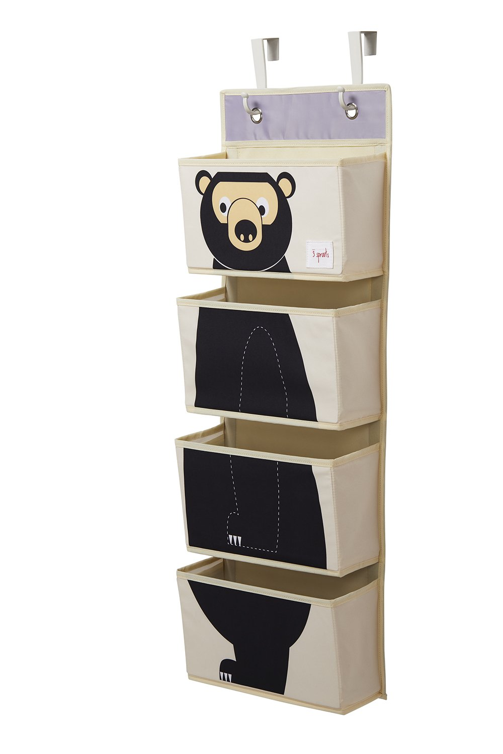 3 Sprouts Hanging Wall Organizer, Bear Black 1 Two Kids UWOBEA