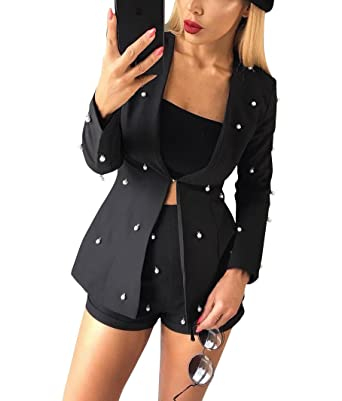 Women S Blazer Suit Set Pearls Beaded 2 Piece Outfits Jacket