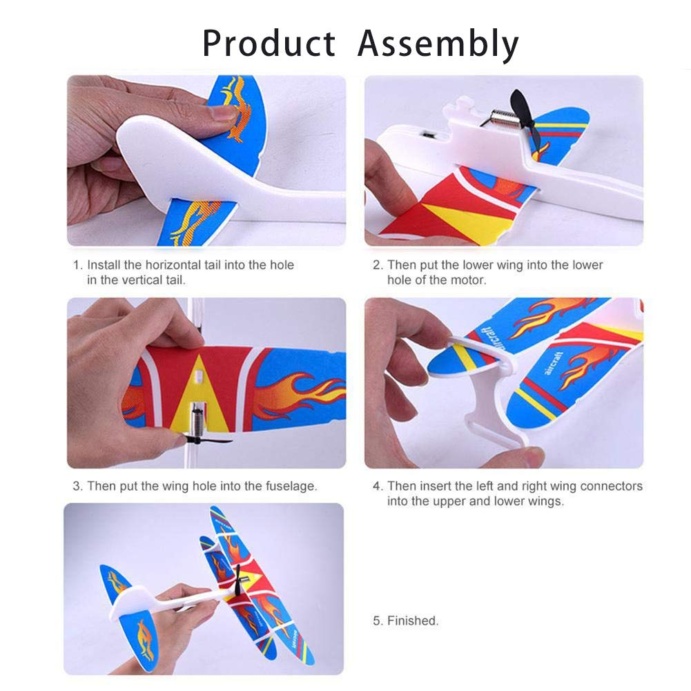 Random Color Infinity 6 2 Pack Electric Hand Throw Foam Airplane,4 Color Flying Glider Plane for Kids Outdoor Sports Aircraft Toy,USB Rechargeable Aircraft Model