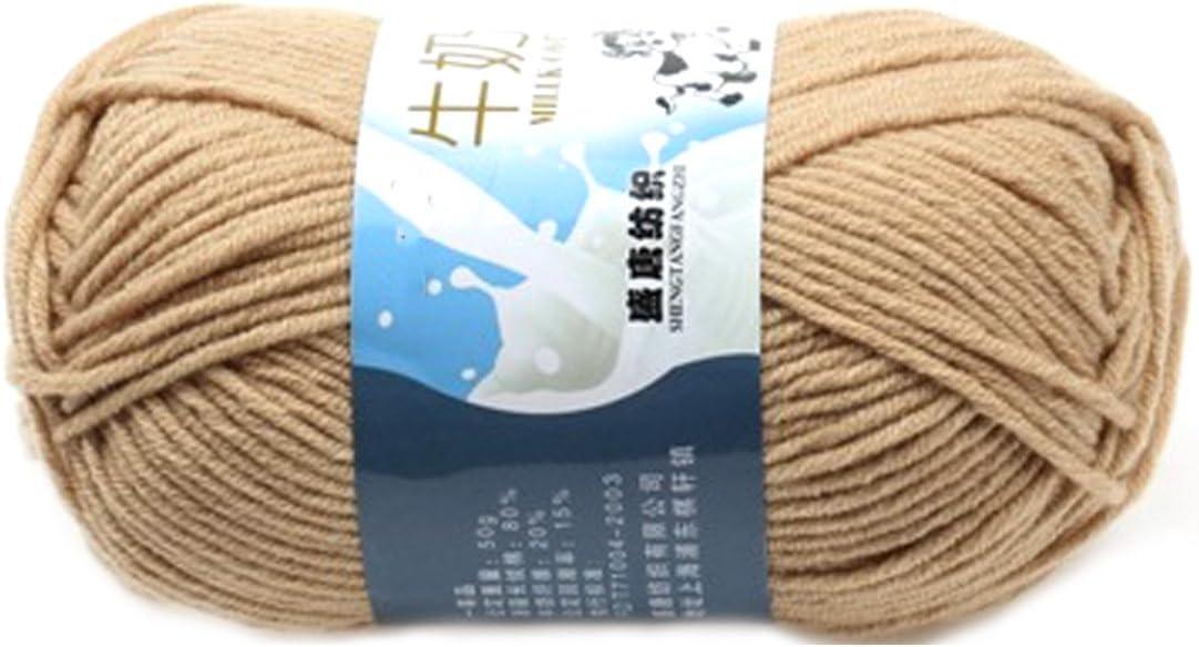 Suave Suave Leche de algodón natural de la mano de tejer lana de lana bola del hilado del bebé para naves de color caqui