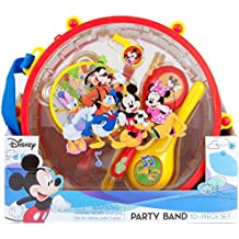 Disney Mickey Mouse Clubhouse Party Band 10 piece Set | 1 Drum 1 Whistle 1 Flute Tambourine 2 Maracas 2 Sticks 2 Castanets | Kids Musical Educational Toy Gift.