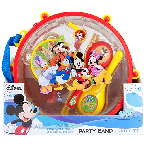 Big Band Drum - Disney Mickey Mouse Clubhouse Party Band 10 piece Set | 1 Drum 1 Whistle 1 Flute Tambourine 2 Maracas 2 Sticks 2 Castanets | Kids Musical Educational Toy Gift.