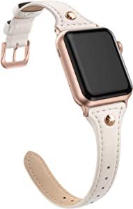 SWEES Genuine Leather Band Compatible for iWatch 38mm 40mm, Slim Thin Dressy Stylish Elegant Rivet Bands Strap Compatible for iWatch Series 5, 4, 3 Sports & Edition Women, Beige