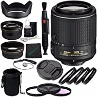 Nikon AF-S DX NIKKOR 55-200mm f/4-5.6G ED VR II Lens + 52mm 3 Piece Filter Set (UV, CPL, FL) + 52mm +1 +2 +4 +10 Close-Up Macro Filter Set with Pouch + Lens Cap + 52mm Wide Angle Lens Bundle