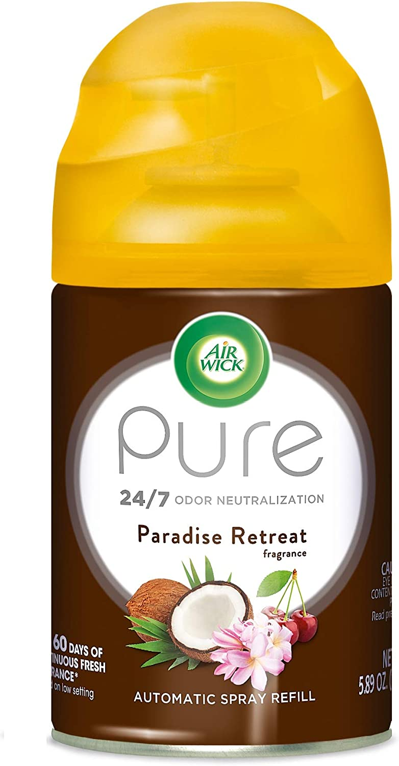 Air Wick Pure Freshmatic Refill Automatic Spray, Paradise Retreat, 1ct, Air Freshener, Essential Oil, Odor Neutralization, Packaging May Vary