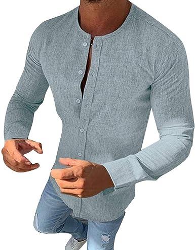 Blusa de Hombre Camisetas de Hombre Abierta de Color sólido Lino Casual para Hombres del Camisas