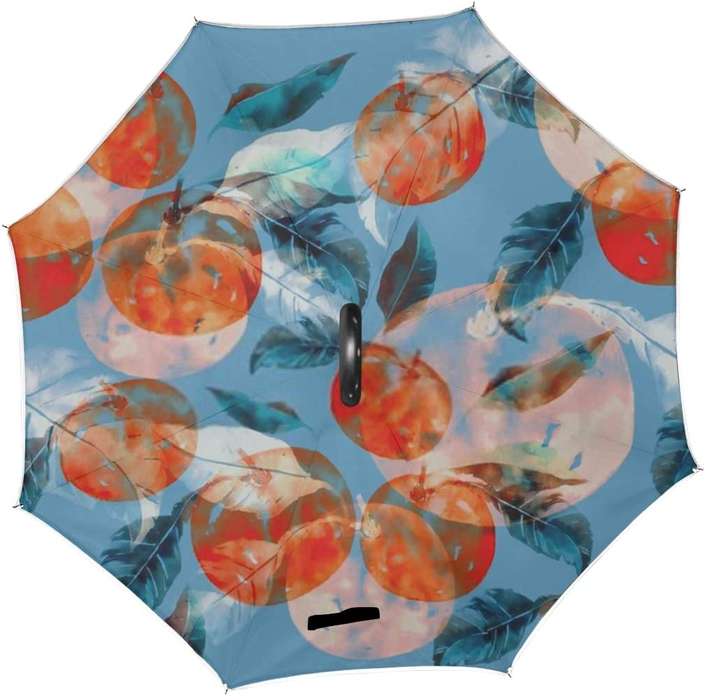 Double Layer Inverted Inverted Umbrella Is Light And Sturdy Fruits Leaves Mandarin Tree Repeat Seamless Reverse Umbrella And Windproof Umbrella Edge