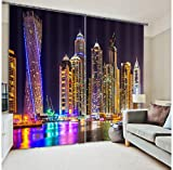 Newrara Wonderful City Night Scene Print 3D Curtain 2 Panels For Living Room&Bedroom,Free Hook Included (80W63″L, Black) For Sale