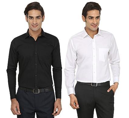 Focil Black White Formal Wear Combo Shirt For Mens Pack Of 2