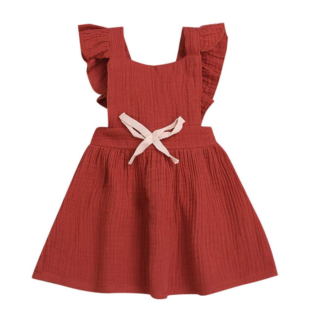 0-3 Years Baby Summer Dress, Kids Girls Sleeveless Ruffled Bow Cute Party Princess Dresses Cute Skirt (12-18 Months, Red)
