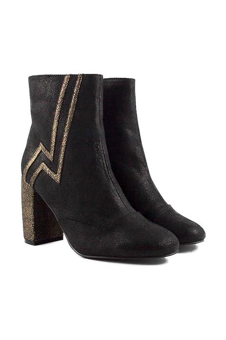 SHLEP Botines de Mujer Dama Negros Tacón Alto Rayo Dorado Modernos Chic Piel DCE Moda: Amazon.es: Zapatos y complementos