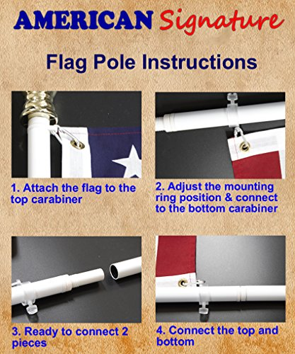 American Signature Flag Pole 6 ft - Heavy Duty Aluminum Tangle Free Spinning Flagpole with Carabiners - 2019 New Enhanced Design - Outdoor Wall Mount Flagpole for Residential or Commercial (Black, 6) by American Signature (Image #4)