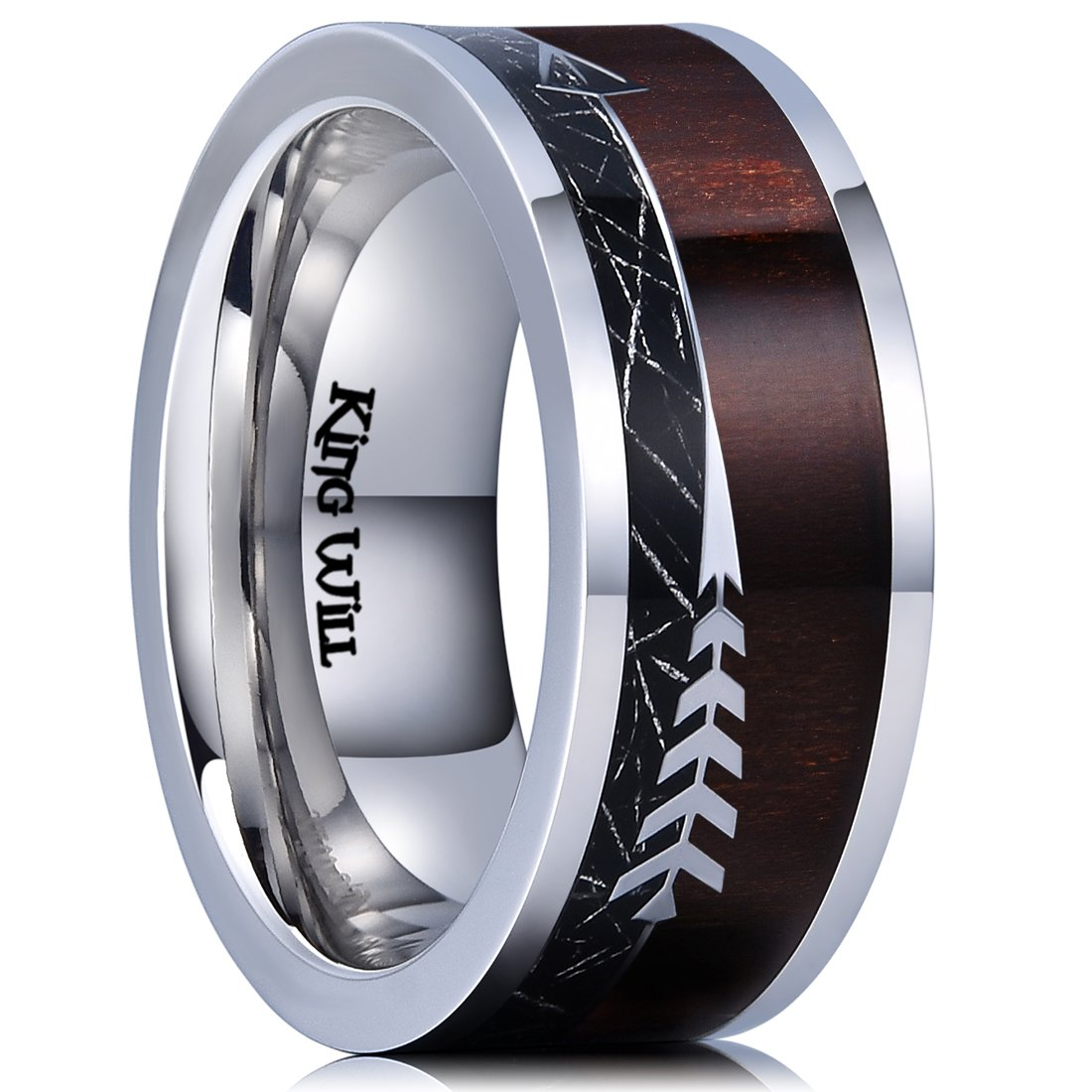 King Will Nature 8mm Real Wood Inlay Titanium Wedding Ring Imitated Meteorite Comfort Fit OY-TRM022