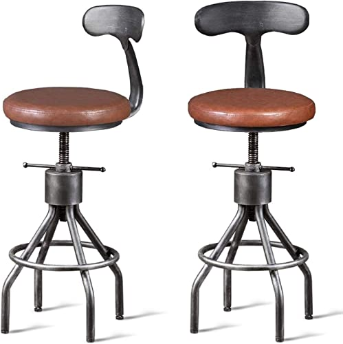 Diwhy Industrial Vintage Bar Stool,Kitchen Counter Height Adjustable Pipe Stool,Cast Iron Stool,Swivel Bar Stool