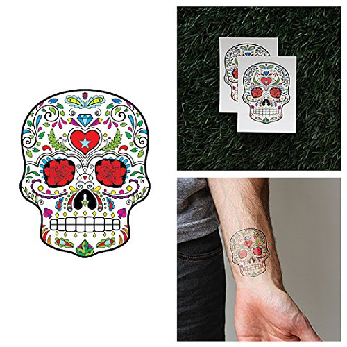 Tattify Heart Sugar Skull Temporary Tattoo - Ring Around (Set of 2) - Other Styles Available and Fashionable Temporary Tattoos - Tattoos that are long lasting and (Sugar Skull Costume Ideas)