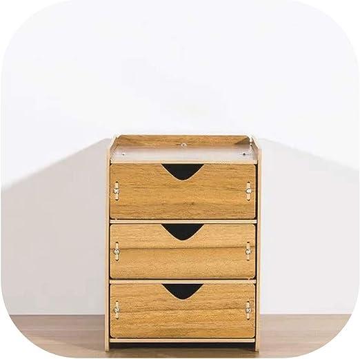Cajas de madera de almacenamiento Organizador de cajones caja con cajones del escritorio del hogar Divisor organizador de escritorio cajones de almacenamiento caja de madera de nogal, 3 capas: Amazon.es: Hogar